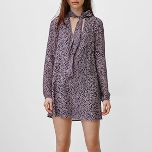 Aritzia Talula Cadogan tie neck shift dress XXS